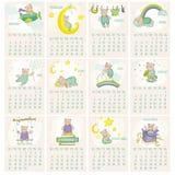 Calendario 2015 dell'orso del bambino Immagini Stock