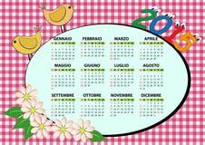 calendario 2015 dell'uccello Fotografie Stock Libere da Diritti