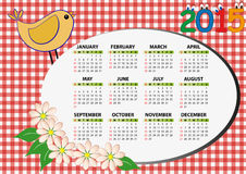 calendario 2015 dell'uccello Fotografia Stock