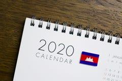 Calendario della bandiera della Cambogia del 2020 immagini stock