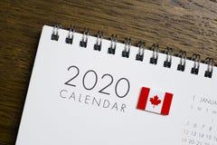 Calendario della bandiera del Canada del 2020 fotografia stock libera da diritti