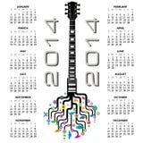 calendario 2014 della chitarra illustrazione vettoriale