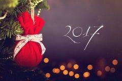 Calendario della decorazione di Natale della cartolina d'auguri Fotografia Stock