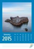 Calendario della foto Print2015 dicembre Fotografie Stock Libere da Diritti
