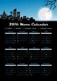 Calendario 2016 della luna Fotografia Stock