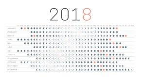 Calendario 2018 della luna Fotografia Stock