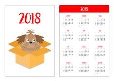 Calendario della tasca 2018 anni La settimana comincia domenica Contenitore aperto interno di pacchetto del cartone di Shih Tzu D illustrazione vettoriale