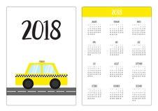 Calendario della tasca 2018 anni La settimana comincia domenica Icona della carrozza dell'automobile del taxi sulla strada Raccol Immagini Stock Libere da Diritti