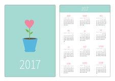 Calendario della tasca 2017 anni La settimana comincia domenica Modello verticale di orientamento di progettazione piana Fiore de Immagine Stock Libera da Diritti