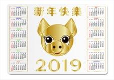 Calendario della tasca per 2019 con un maiale dorato e le congratulazioni in cinese Può essere usato come modello per il calendar Illustrazione di Stock
