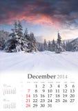 Calendario 2014. Desember. Fotografía de archivo libre de regalías