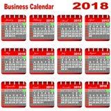 Calendario 2018 di affari Fotografia Stock