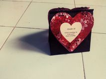 Calendario di amore con la citazione Immagini Stock