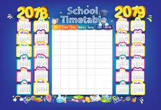 2018-2019 calendario di anno illustrazione vettoriale
