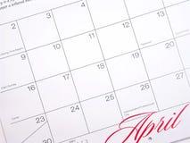 Calendario di aprile Fotografie Stock