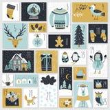 Calendario di arrivo di Natale, stile disegnato a mano Fotografie Stock Libere da Diritti