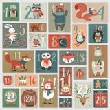 Calendario di arrivo di Natale, stile disegnato a mano Fotografia Stock