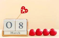 Calendario di blocco con l'ottavo della data di marzo Fotografie Stock Libere da Diritti
