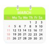 Calendario di blocco marzo 2018 su bianco; illustrazione di riserva di vettore illustrazione di stock