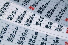 Calendario di carta Fotografia Stock
