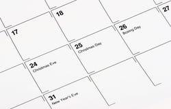 Calendario di dicembre Fotografie Stock Libere da Diritti