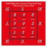 calendario di feng shui di 2018 cinesi 12 mesi Immagine Stock Libera da Diritti