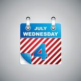 Calendario di festa dell'indipendenza Fotografia Stock