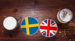 Calendario di finale quarto della coppa del Mondo 2018, birra Mats Concept Flyer Background La Svezia contro la Germania l'inghil fotografia stock libera da diritti
