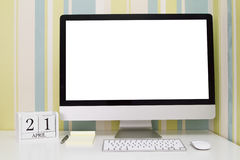 Calendario di forma del cubo per il 21 aprile Immagini Stock