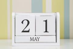 Calendario di forma del cubo per il 21 maggio Fotografia Stock Libera da Diritti