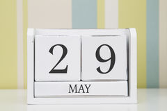 Calendario di forma del cubo per il 29 maggio Fotografie Stock