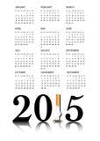 Calendario di fumo 2015 Quit Fotografia Stock Libera da Diritti