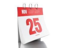 calendario di giorno 3d con data il 25 novembre 2017 Fotografia Stock Libera da Diritti