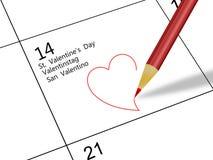 Calendario di giorno del biglietto di S. Valentino Fotografia Stock Libera da Diritti