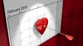 Calendario di giorno del ` s del biglietto di S. Valentino Immagini Stock