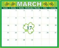 Calendario di giorno della st Patricks Immagine Stock Libera da Diritti