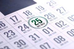 Calendario di giorno di Natale sul diario Fotografia Stock
