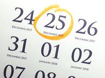 Calendario di giorno di Natale sul diario Fotografia Stock Libera da Diritti