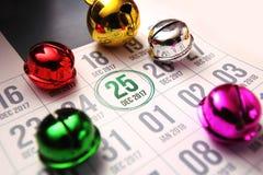 Calendario di giorno di Natale sul diario Immagini Stock Libere da Diritti