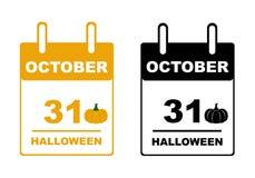 Calendario di Halloween Fotografie Stock Libere da Diritti