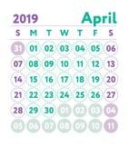 Calendario 2019 Calendario di inglese di vettore Mese di aprile Inizio di settimana illustrazione di stock