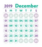 Calendario 2019 Calendario di inglese di vettore Mese di dicembre Sta di settimana royalty illustrazione gratis