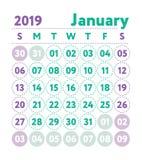 Calendario 2019 Calendario di inglese di vettore Mese di gennaio Stella di settimana illustrazione di stock