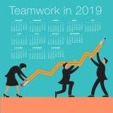 Calendario 2019 di lavoro di squadra Fotografie Stock
