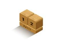 Calendario di legno isometrico di vettore retro Immagini Stock