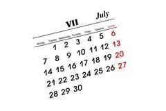 Calendario di luglio Immagine Stock