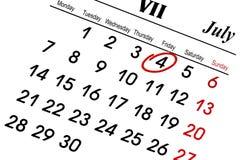 Calendario di luglio Fotografia Stock