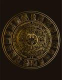 Calendario di maya dei segni maya o aztechi del geroglifico di vettore illustrazione di stock