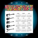 calendario 2014 di musica Immagini Stock Libere da Diritti