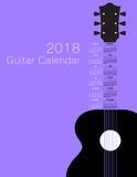 Calendario 2018 di musical della chitarra Illustrazione Vettoriale